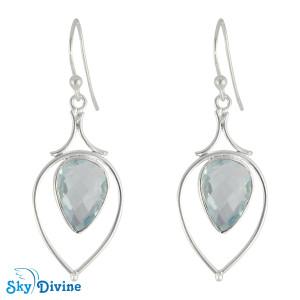 925 Sterling Silver blue topaz Earring SDER2185 SkyDivine Jewelry