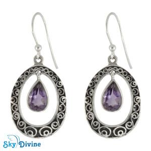 Sterling Silver amethyst Earring SDER2186 SkyDivine Jewellery