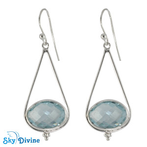 925 Sterling Silver blue topaz Earring SDER2187 SkyDivine Jewellery