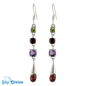 925 Sterling Silver Multi Stones Earring SDAER23a SkyDivine Jewelry