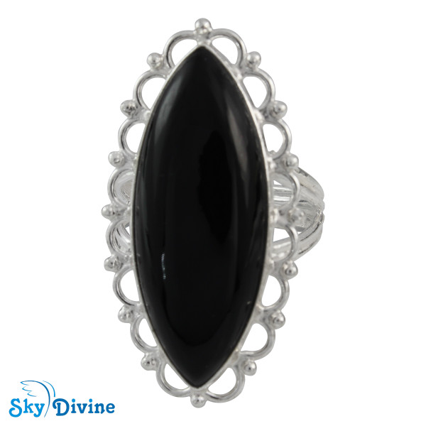 Sterling Silver Black Onyx Ring SDR2100 SkyDivine Jewellery RingSize 8.5 US Image2