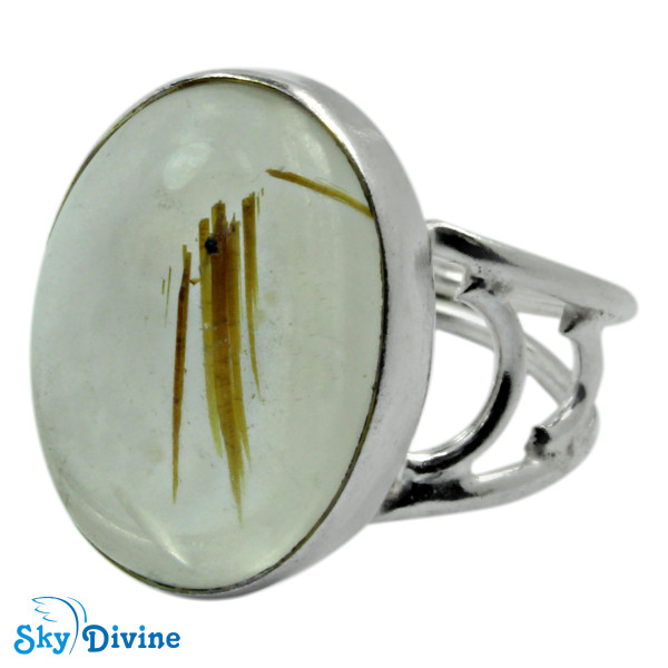 925 Sterling Silver Golden Rutile Ring SDR2113 SkyDivine Jewelry RingSize 7.5 US Image2