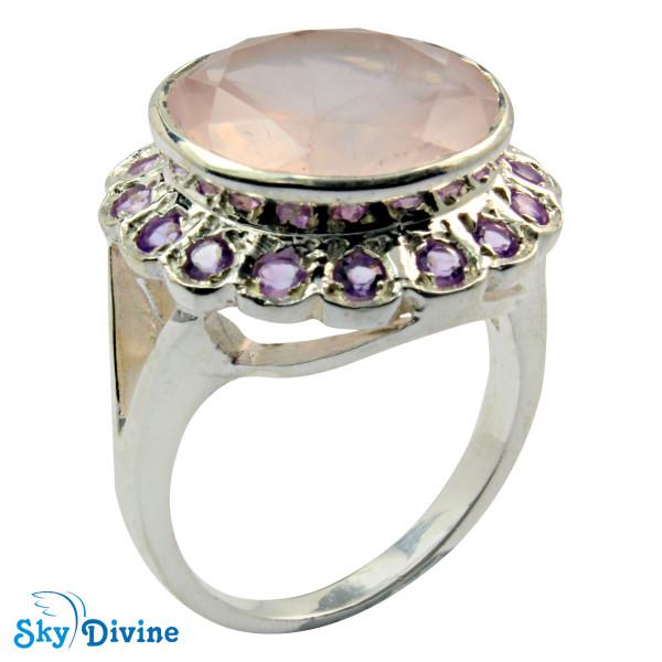 925 Sterling Silver Rose Quartz Ring SDR2132 SkyDivine Jewelry RingSize 9 US