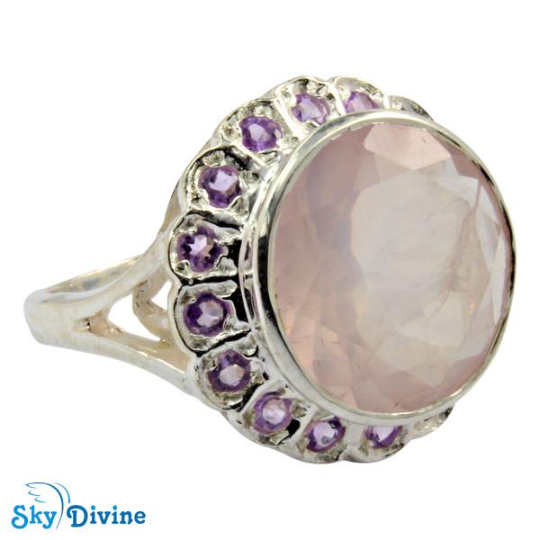 925 Sterling Silver Rose Quartz Ring SDR2132 SkyDivine Jewelry RingSize 9 US Image2