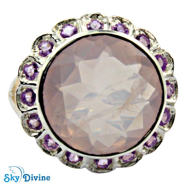 925 Sterling Silver Rose Quartz Ring SDR2132 SkyDivine Jewelry RingSize 9 US Image3