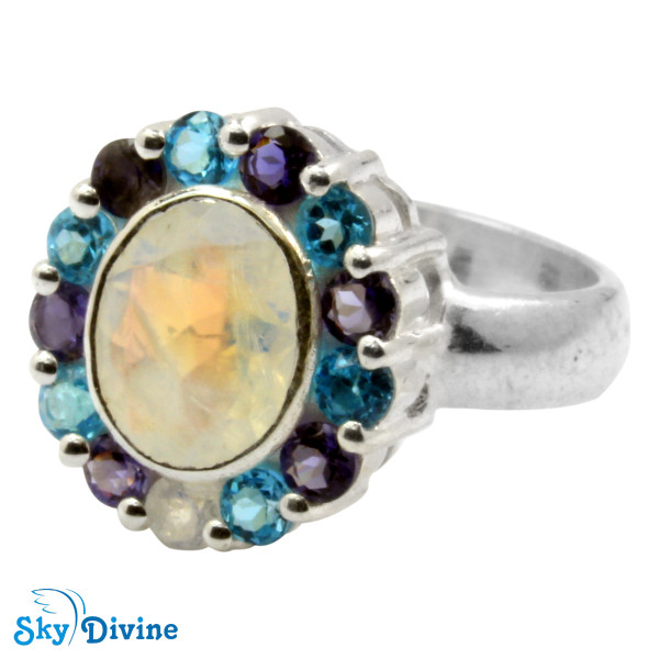 Sterling Silver Rainbow moon Stone Ring SDR2138 SkyDivine Jewellery RingSize 8.5 US Image2