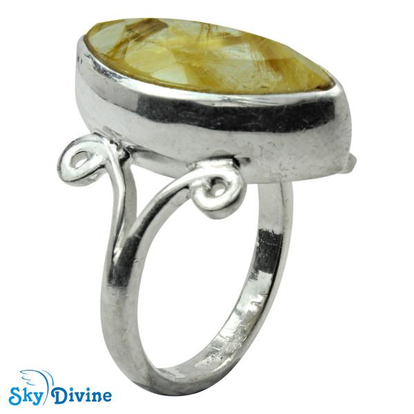 925 Sterling Silver Golden Rutile Ring SDR2155 SkyDivine Jewellery RingSize 9 US
