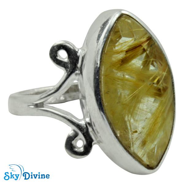 925 Sterling Silver Golden Rutile Ring SDR2155 SkyDivine Jewellery RingSize 9 US Image2