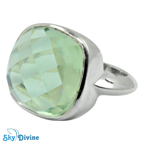 925 Sterling Silver Green Amethyst Ring SDR2159 SkyDivine Jewellery RingSize 7.5 US Image2