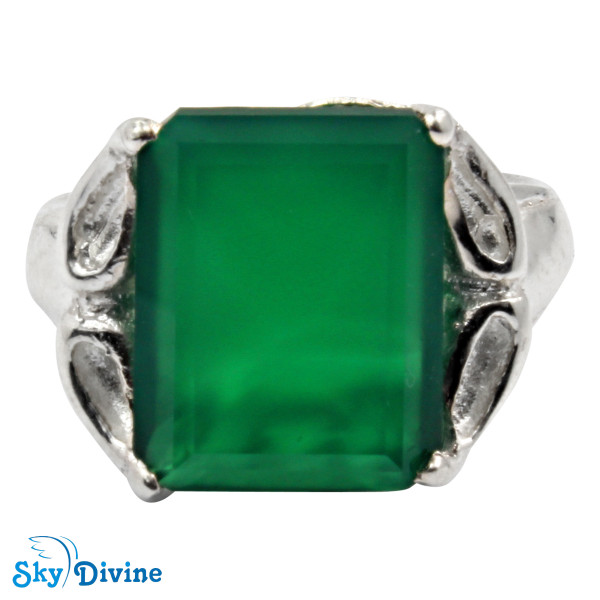 925 Sterling Silver green onyx Ring SDR2161 SkyDivine Jewellery RingSize 9 US Image2