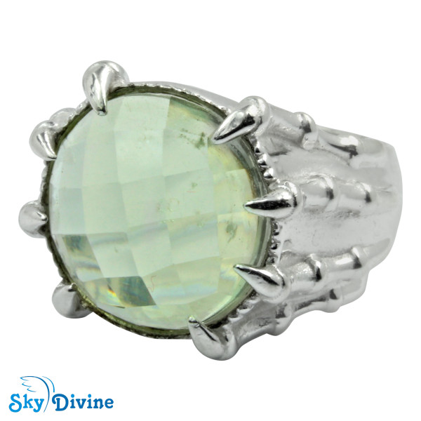 Sterling Silver Green Amethyst Ring SDR2167 SkyDivine Jewelry RingSize 7.5 US Image2