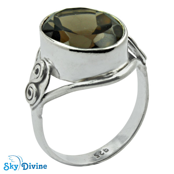 Sterling Silver smoky topaz Ring SDR2175 SkyDivine Jewellery RingSize 8.5 US