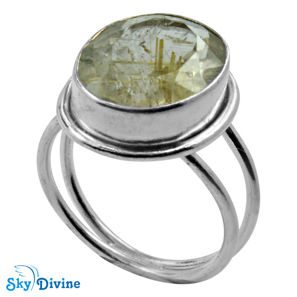 925 Sterling Silver Golden Rutile Ring SDR2176 SkyDivine Jewelry RingSize 7.5 US