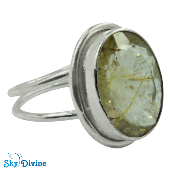 925 Sterling Silver Golden Rutile Ring SDR2176 SkyDivine Jewelry RingSize 7.5 US Image2