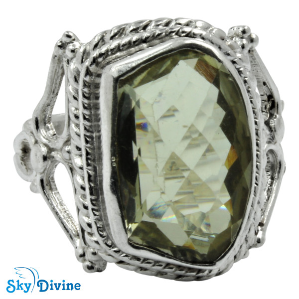 925 Sterling Silver Green Amethyst Ring SDR2184 SkyDivine Jewelry RingSize 7.5 US Image2
