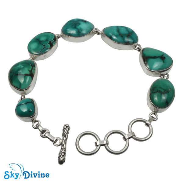 925 Sterling Silver turquoise Bracelet SDABR07 SkyDivine Jewelry
