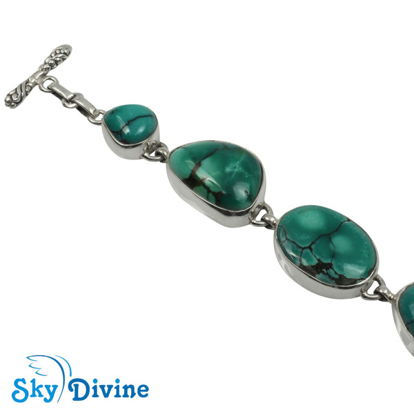 925 Sterling Silver turquoise Bracelet SDABR07 SkyDivine Jewelry Image2