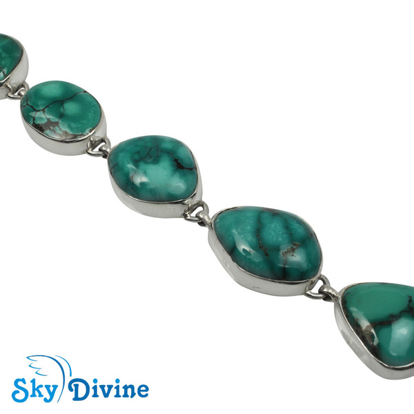 925 Sterling Silver turquoise Bracelet SDABR07 SkyDivine Jewelry Image3