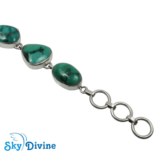 925 Sterling Silver turquoise Bracelet SDABR07 SkyDivine Jewelry Image4