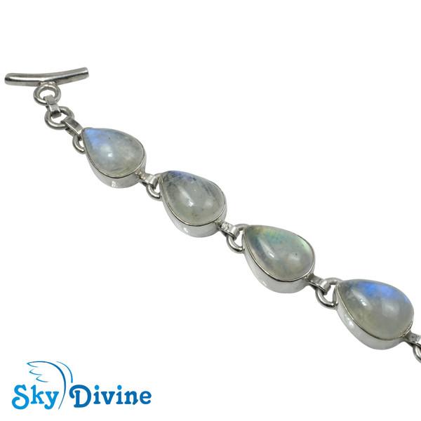 Sterling Silver Rainbow moon Stone Bracelet SDABR09 SkyDivine Jewellery Image2