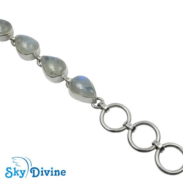 Sterling Silver Rainbow moon Stone Bracelet SDABR09 SkyDivine Jewellery Image4