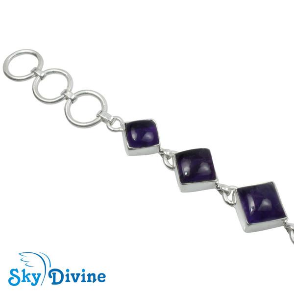 925 Sterling Silver amethyst Bracelet SDBR2102 SkyDivine Jewellery Image2