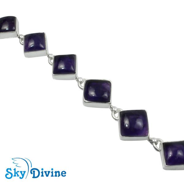 925 Sterling Silver amethyst Bracelet SDBR2102 SkyDivine Jewellery Image3