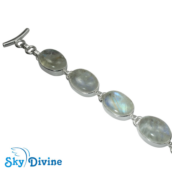 Sterling Silver Rainbow moon Stone Bracelet SDBR2103 SkyDivine Jewelry Image2