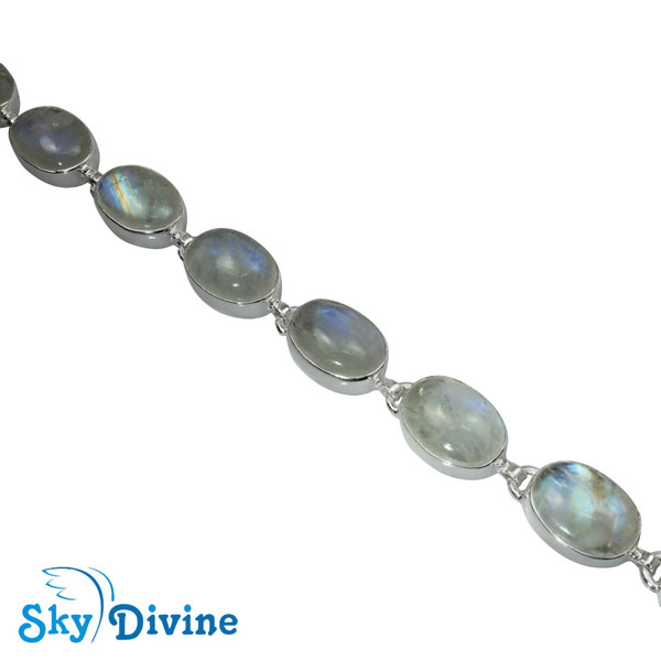 Sterling Silver Rainbow moon Stone Bracelet SDBR2103 SkyDivine Jewelry Image3