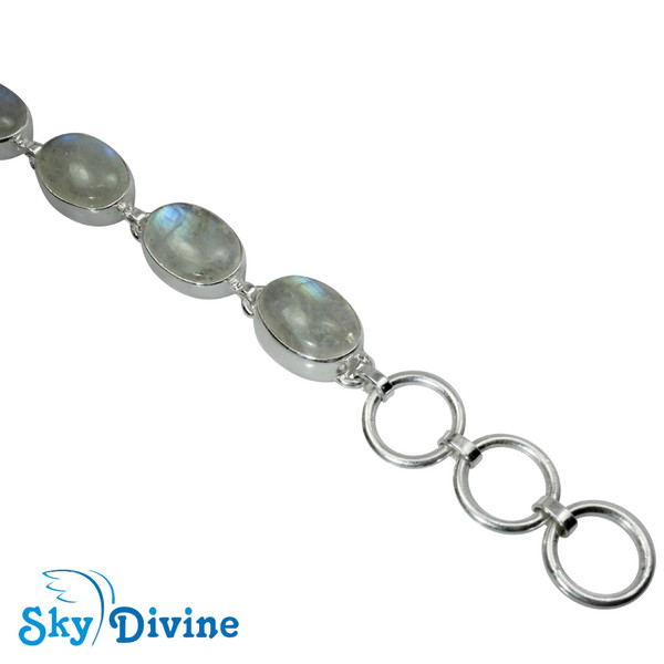 Sterling Silver Rainbow moon Stone Bracelet SDBR2103 SkyDivine Jewelry Image4