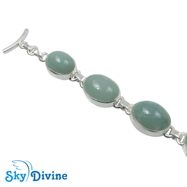 925 Sterling Silver Milky Aquamarine Bracelet SDBR2106 SkyDivine Jewelry Image2