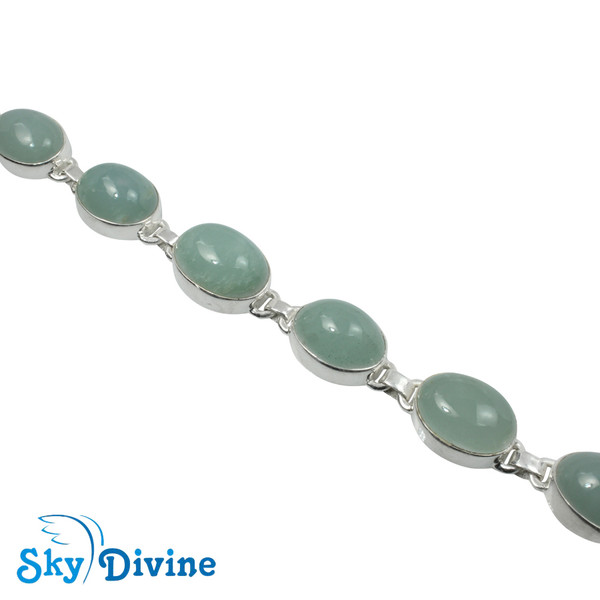 925 Sterling Silver Milky Aquamarine Bracelet SDBR2106 SkyDivine Jewelry Image3