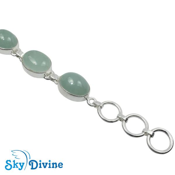 925 Sterling Silver Milky Aquamarine Bracelet SDBR2106 SkyDivine Jewelry Image4