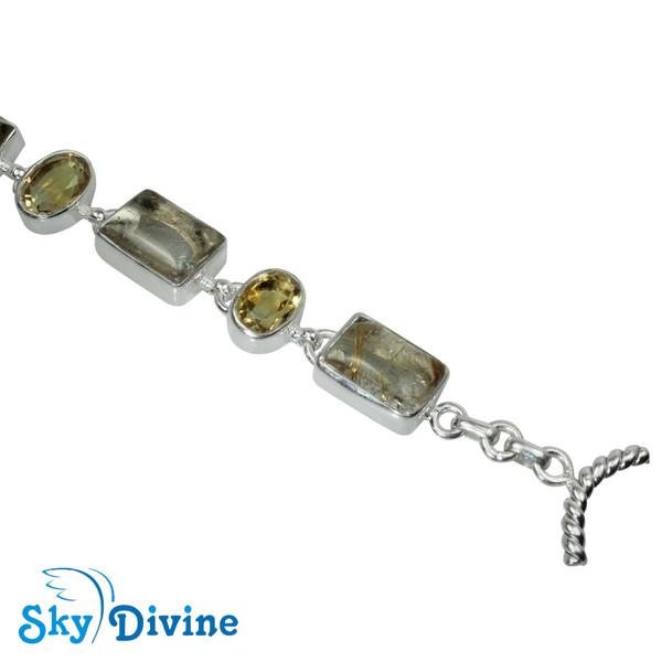 Sterling Silver Golden Rutile Bracelet SDBR2108 SkyDivine Jewellery Image4