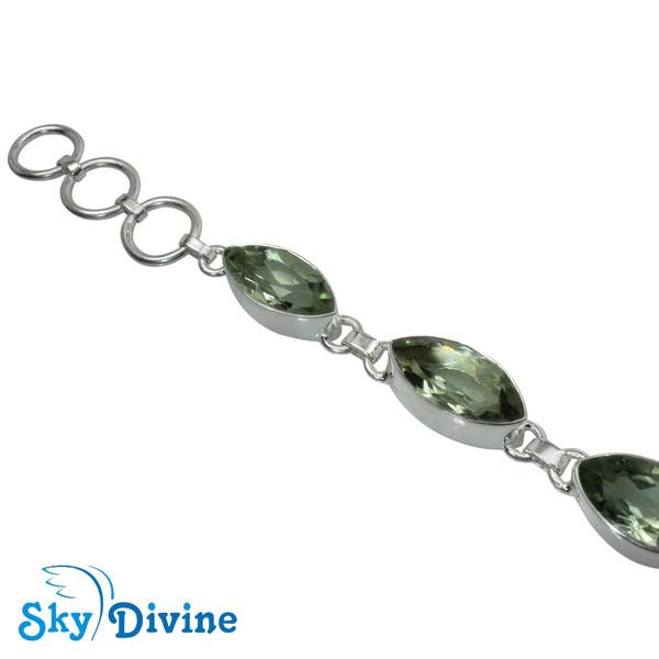 925 Sterling Silver Green Amethyst Bracelet SDBR2109 SkyDivine Jewellery Image2