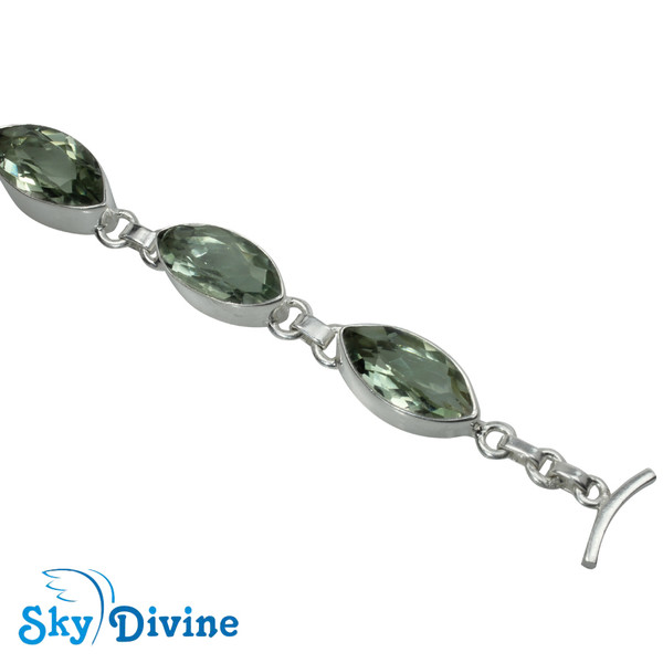 925 Sterling Silver Green Amethyst Bracelet SDBR2109 SkyDivine Jewellery Image4