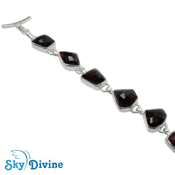 Sterling Silver Garnet Bracelet SDBR2119 SkyDivine Jewellery Image2