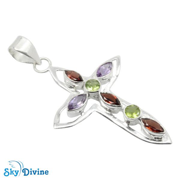 Sterling Silver Garnet Pendant SDAPN15 SkyDivine Jewelry