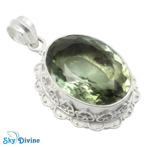 Sterling Silver Green Amethyst Pendant SDPN2114 SkyDivine Jewellery