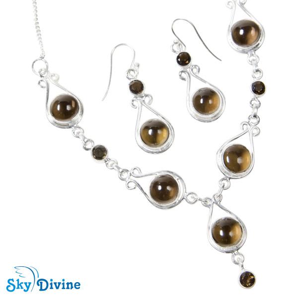 Sterling Silver Smoky Quartz Set SDAST01 SkyDivine Jewelry Image5