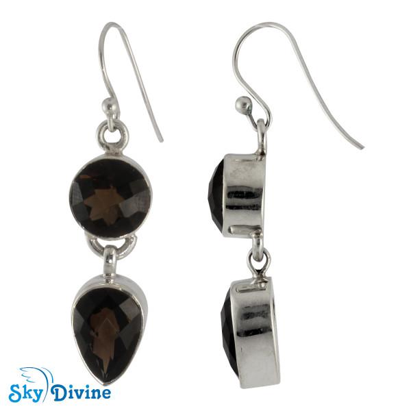 925 Sterling Silver Smoky Topaz Earring SDAER01 SkyDivine Jewellery Image2