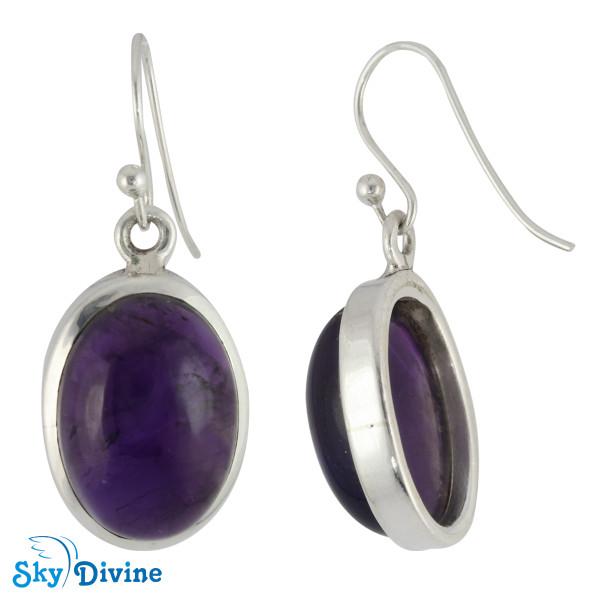 925 Sterling Silver amethyst Earring SDER2101 SkyDivine Jewelry Image2