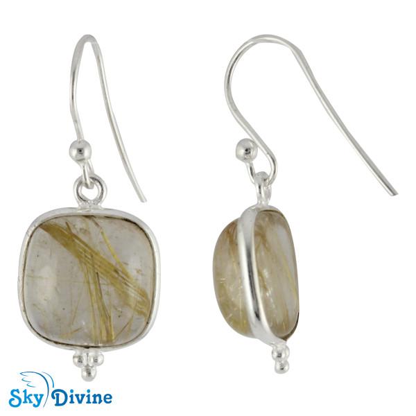 Sterling Silver Golden Rutile Earring SDER2106 SkyDivine Jewellery Image2