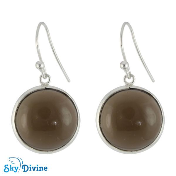 925 Sterling Silver smoky topaz Earring SDER2114 SkyDivine Jewelry