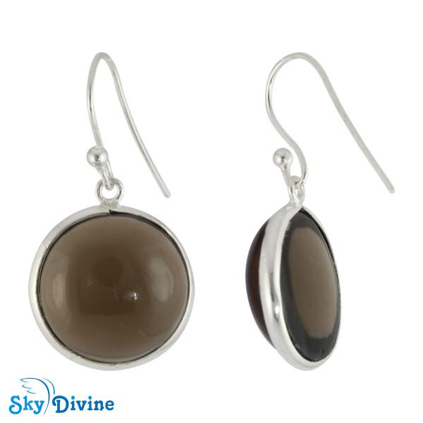 925 Sterling Silver smoky topaz Earring SDER2114 SkyDivine Jewelry Image2