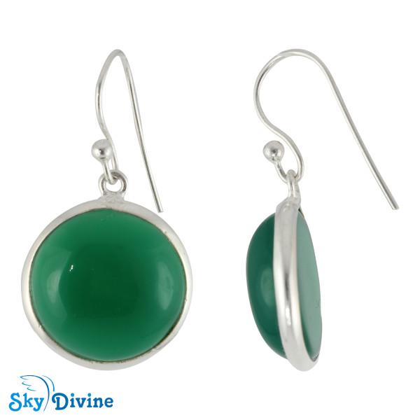 Sterling Silver green onyx Earring SDER2115 SkyDivine Jewellery Image2