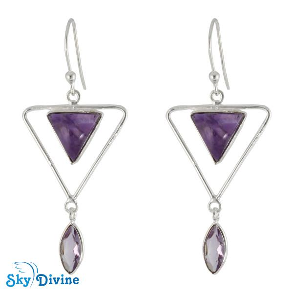 925 Sterling Silver amethyst Earring SDER2124 SkyDivine Jewellery