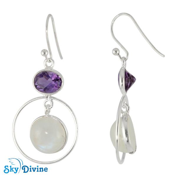 925 Sterling Silver amethyst Earring SDER2126 SkyDivine Jewellery Image2