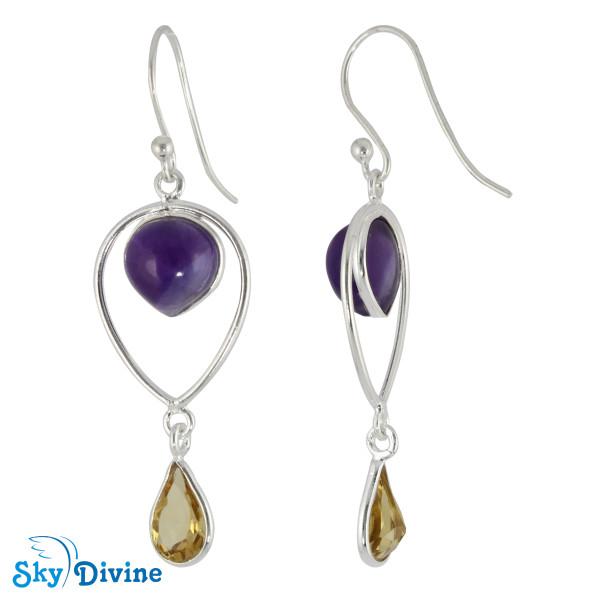 Sterling Silver amethyst Earring SDER2127 SkyDivine Jewellery Image2