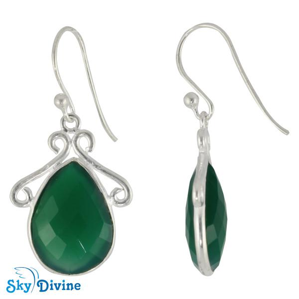 Sterling Silver green onyx Earring SDER2129 SkyDivine Jewellery Image2